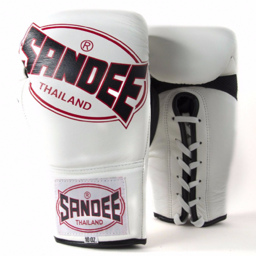 Sandee Cool-tech Lace Up Fight Gloves - White